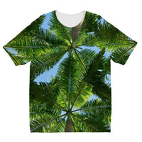 Coconut Trees Leaves Pattern Kids Sublimation T-Shirt 3-4 Years Apparel