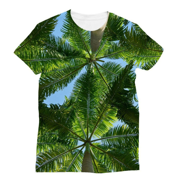 Coconut Trees Leaves Pattern Sublimation T-Shirt S Apparel