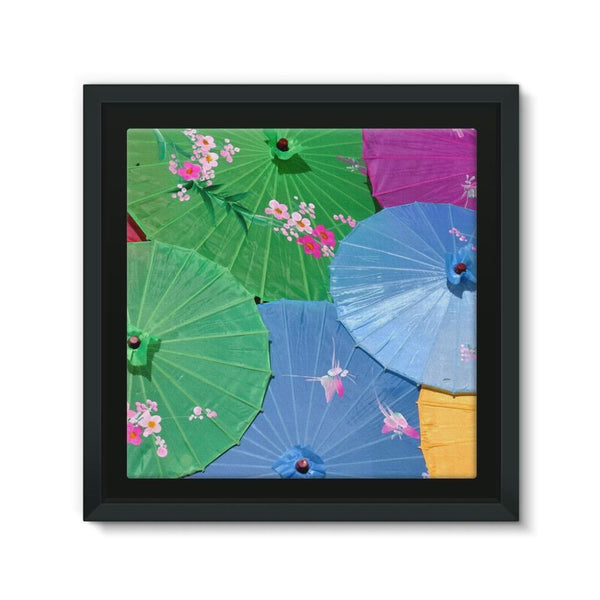 Color Full Umbrellas Framed Canvas 12X12 Wall Decor