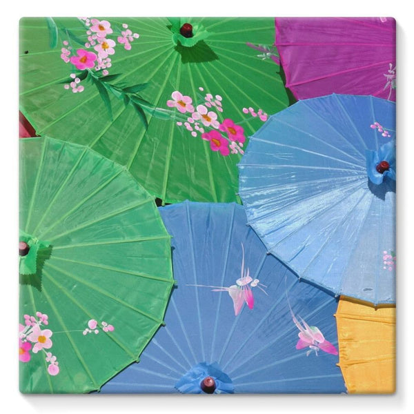 Color Full Umbrellas Stretched Canvas 10X10 Wall Decor