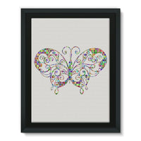 Colorful Butterfly Framed Canvas 24X32 Wall Decor