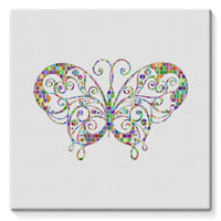 Colorful Butterfly Stretched Canvas 10X10 Wall Decor