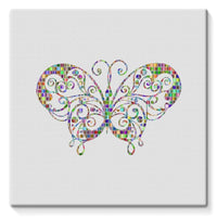 Colorful Butterfly Stretched Canvas 14X14 Wall Decor
