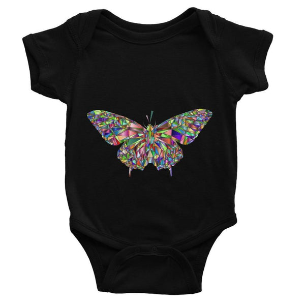 Colorful Crystal Butterfly Baby Bodysuit 0-3 Months / Black Apparel