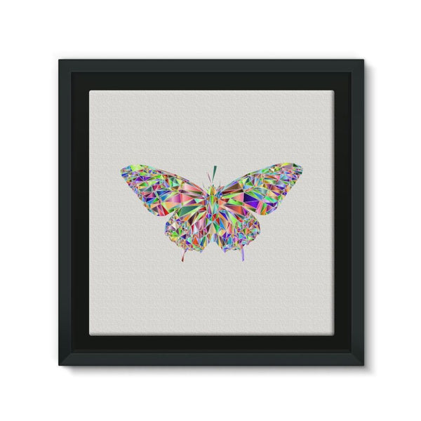 Colorful Crystal Butterfly Framed Canvas 12X12 Wall Decor