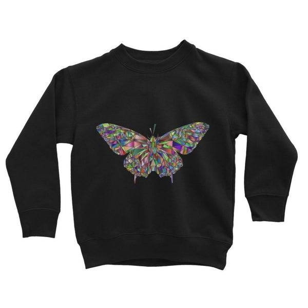 Colorful Crystal Butterfly Kids Sweatshirt 3-4 Years / Jet Black Apparel