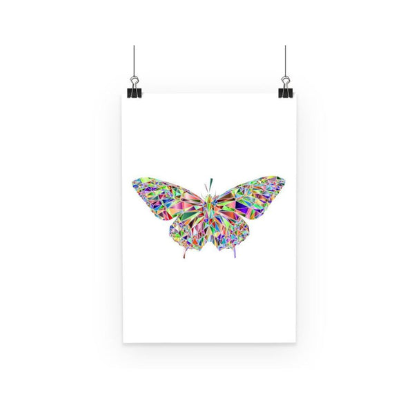 Colorful Crystal Butterfly Poster A3 Wall Decor