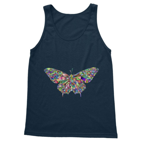 Colorful Crystal Butterfly Softstyle Tank Top S / Navy Apparel