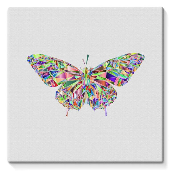 Colorful Crystal Butterfly Stretched Canvas 10X10 Wall Decor