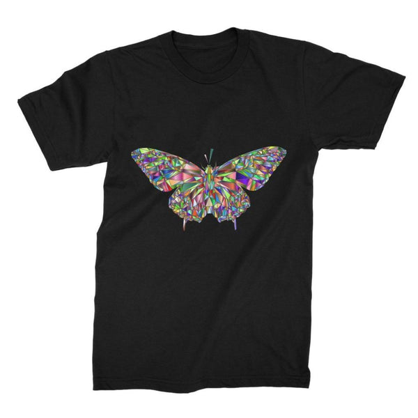 Colorful Crystal Butterfly Unisex Fine Jersey T-Shirt S / Black Apparel