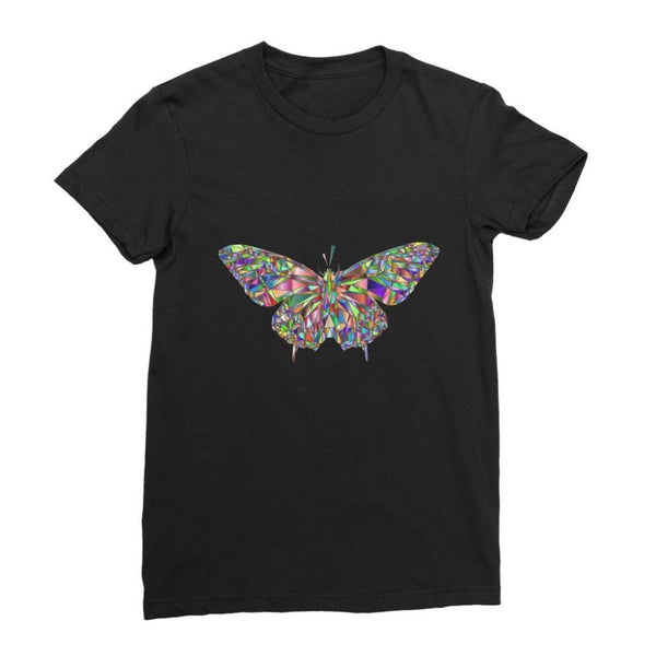 Colorful Crystal Butterfly Womens Fine Jersey T-Shirt S / Black Apparel