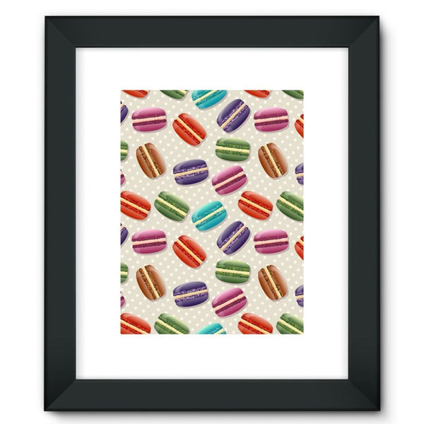 Colorful Macarons Pattern Framed Fine Art Print 12X16 / Black Wall Decor