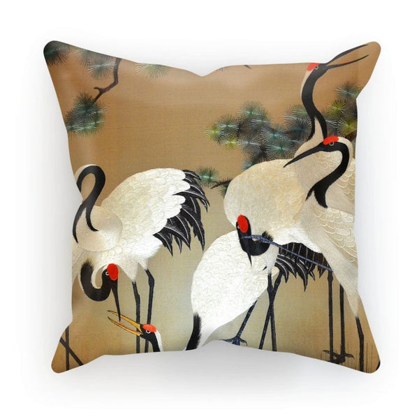 Colorful Painting Of Egrets Cushion Linen / 12X12 Homeware