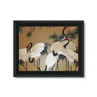 Colorful Painting Of Egrets Framed Canvas 24X18 Wall Decor