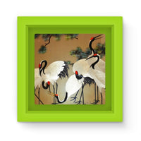 Colorful Painting Of Egrets Magnet Frame Green Homeware