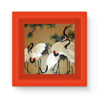 Colorful Painting Of Egrets Magnet Frame Red Homeware