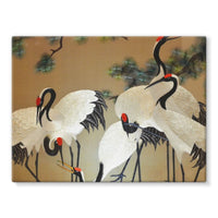 Colorful Painting Of Egrets Stretched Canvas 24X18 Wall Decor