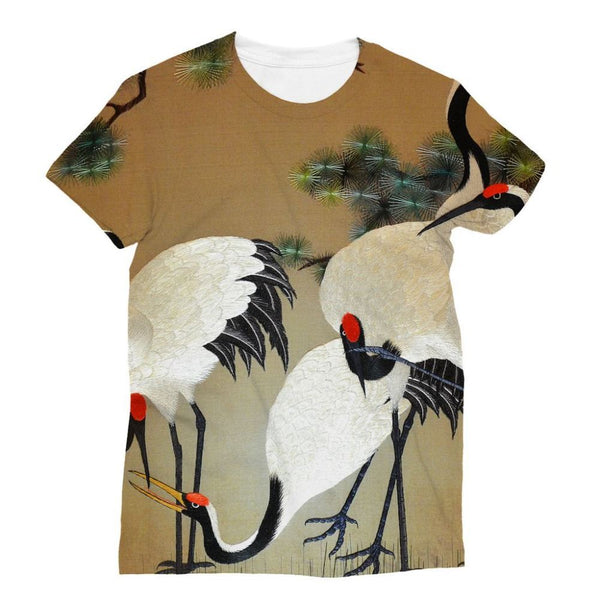 Colorful Painting Of Egrets Sublimation T-Shirt S Apparel