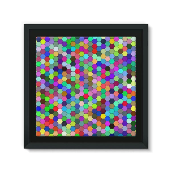 Colorful Pentagon Shape Framed Canvas 12X12 Wall Decor