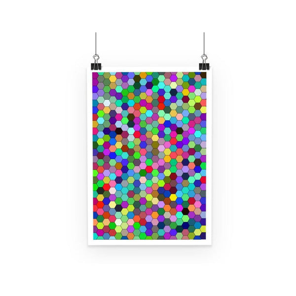 Colorful Pentagon Shape Poster A3 Wall Decor