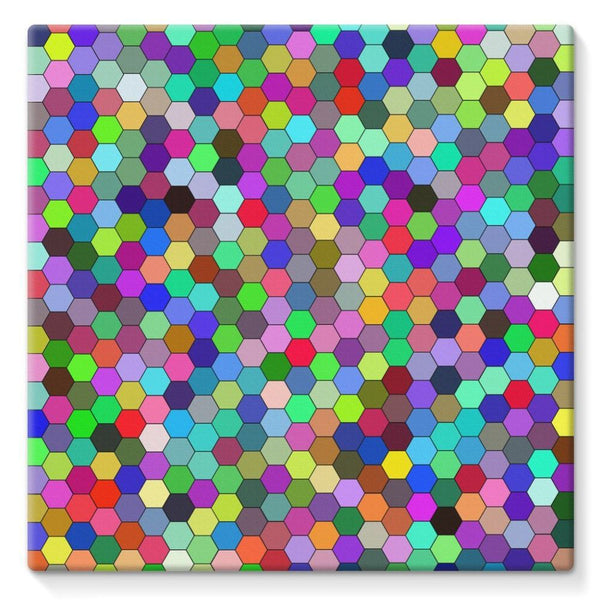 Colorful Pentagon Shape Stretched Canvas 10X10 Wall Decor
