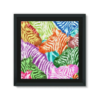 Colorful Zebras In Africa Framed Canvas 12X12 Wall Decor