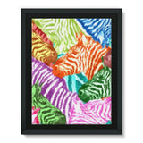 Colorful Zebras In Africa Framed Canvas 12X16 Wall Decor