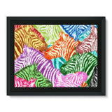 Colorful Zebras In Africa Framed Canvas 16X12 Wall Decor