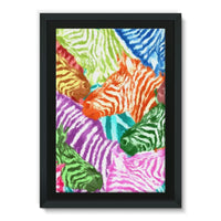 Colorful Zebras In Africa Framed Canvas 20X30 Wall Decor