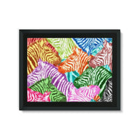 Colorful Zebras In Africa Framed Canvas 24X18 Wall Decor