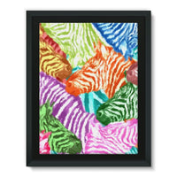 Colorful Zebras In Africa Framed Canvas 24X32 Wall Decor