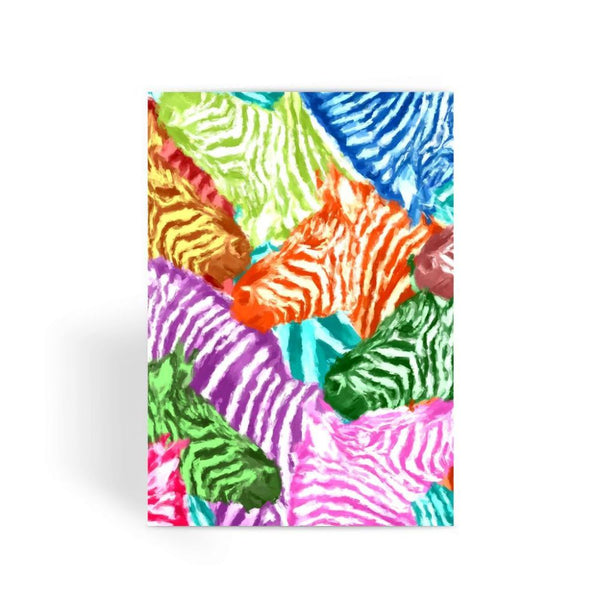 Colorful Zebras In Africa Greeting Card 1 Prints