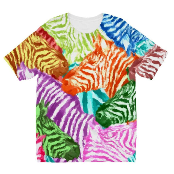Colorful Zebras In Africa Kids Sublimation T-Shirt 3-4 Years Apparel