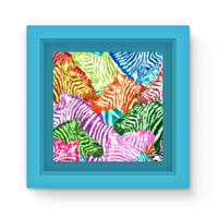 Colorful Zebras In Africa Magnet Frame Light Blue Homeware