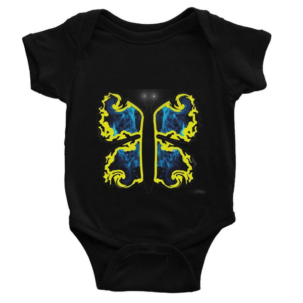 Cosmic Yellow Butterfly Baby Bodysuit 0-3 Months / Black Apparel