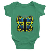 Cosmic Yellow Butterfly Baby Bodysuit 0-3 Months / Kelly Green Apparel