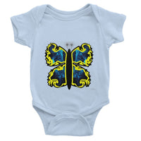 Cosmic Yellow Butterfly Baby Bodysuit 0-3 Months / Light Blue Apparel