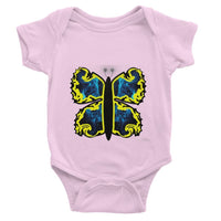 Cosmic Yellow Butterfly Baby Bodysuit 0-3 Months / Light Pink Apparel