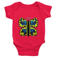 Cosmic Yellow Butterfly Baby Bodysuit 0-3 Months / Red Apparel