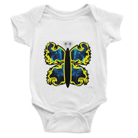 Cosmic Yellow Butterfly Baby Bodysuit 0-3 Months / White Apparel