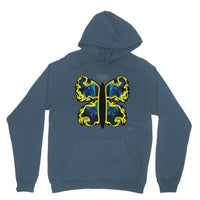 Cosmic Yellow Butterfly Heavy Blend Hooded Sweatshirt S / Indigo Blue Apparel
