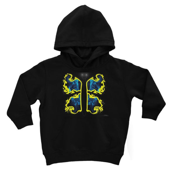 Cosmic Yellow Butterfly Kids Hoodie 3-4 Years / Jet Black Apparel