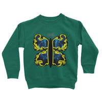 Cosmic Yellow Butterfly Kids Sweatshirt 3-4 Years / Bottle Green Apparel