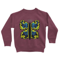Cosmic Yellow Butterfly Kids Sweatshirt 3-4 Years / Burgundy Apparel