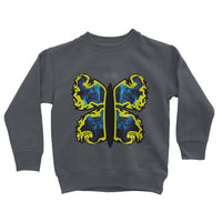 Cosmic Yellow Butterfly Kids Sweatshirt 3-4 Years / Charcoal Apparel