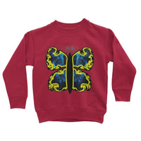 Cosmic Yellow Butterfly Kids Sweatshirt 3-4 Years / Fire Red Apparel