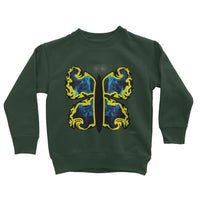 Cosmic Yellow Butterfly Kids Sweatshirt 3-4 Years / Forest Green Apparel