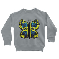 Cosmic Yellow Butterfly Kids Sweatshirt 3-4 Years / Heather Grey Apparel