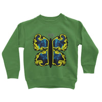 Cosmic Yellow Butterfly Kids Sweatshirt 3-4 Years / Kelly Green Apparel