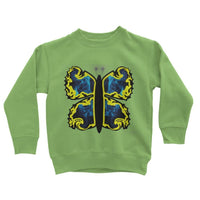 Cosmic Yellow Butterfly Kids Sweatshirt 3-4 Years / Lime Green Apparel